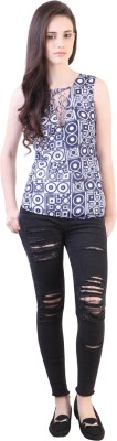 Vvine Party, Casual Sleeveless Printed Women's White, Blue Top