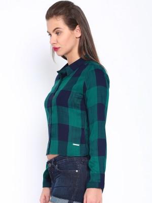 Harvard Casual Full Sleeve Checkered Women's Green Top