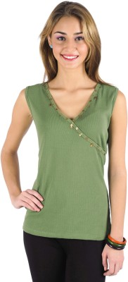 Butterfly Wears Casual Sleeveless Solid Women's Green Top