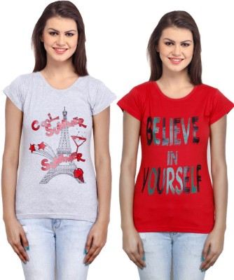 IndiWeaves Casual Short Sleeve Printed Girl's Grey, Red Top