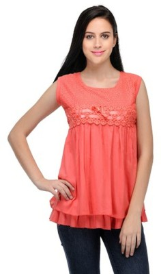 PINK SISLY Casual Sleeveless Solid Women's Pink Top