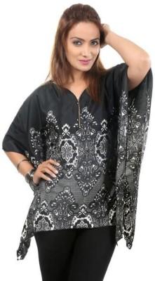 Moda Desire Casual 3/4 Sleeve Printed Women's Black Top