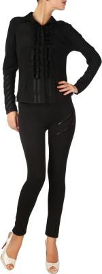 Karmik Casual Full Sleeve Solid Women's Black Top