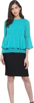 Ama Bella Casual 3/4 Sleeve Solid Women's Green Top