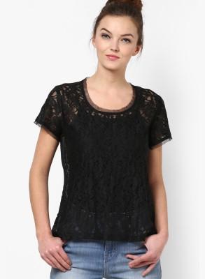 Prakum Casual Short Sleeve Self Design Women,s Black Top