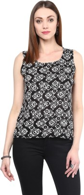 shwetna Casual Sleeveless Floral Print Girl's Black Top
