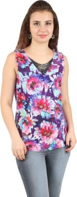 FASHIONHOLIC Party Sleeveless Embellished Women's Multicolor Top