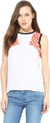 Citrine Casual Sleeveless Solid Women,s White Top