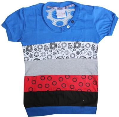 Kidsmasthi Casual Short Sleeve Printed Girl's Blue Top