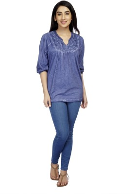 True Fashion Casual 3/4 Sleeve Solid Women's Blue Top
