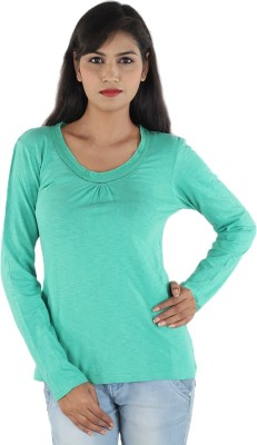 Megha Casual Full Sleeve Solid Women,s Light Green Top