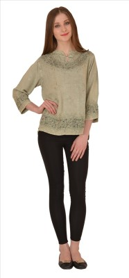 Skirts & Scarves Casual 3/4 Sleeve Embroidered Women's Green Top