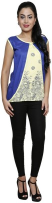 Sea Lion Casual Sleeveless Printed Women's White, Blue Top