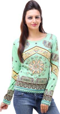 Avon Apparels Casual Full Sleeve Printed Women's Green Top