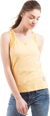 Flying Machine Casual Sleeveless Solid Women's Beige Top