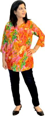Shonaa Casual, Festive 3/4 Sleeve Floral Print Women's Multicolor Top