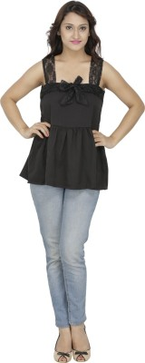 M Expose Casual Sleeveless Solid Women's Black Top
