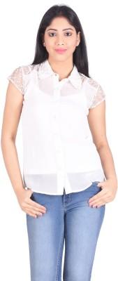 No Code Casual, Festive, Party, Wedding Short Sleeve Self Design Women's White Top