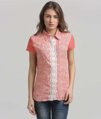 Moda Elementi Casual Short Sleeve Printed Women's Red Top