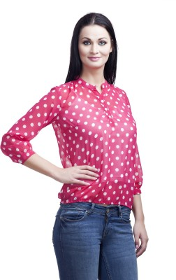 Mallory Winston Casual 3/4 Sleeve Polka Print Women's Pink Top