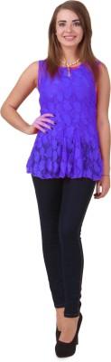Estilo De Vida Casual Sleeveless Floral Print Women's Blue Top