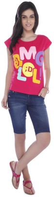 Miss Pink Casual Short Sleeve Graphic Print Girl's Pink Top