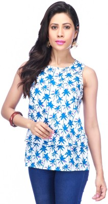 I Jeanswear by Shoppers Stop Casual Sleeveless Printed Women,s Blue, White Top