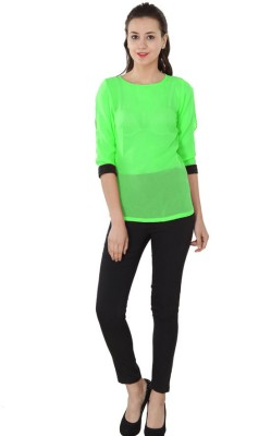 Western Route Casual 3/4 Sleeve Solid Women's Green Top