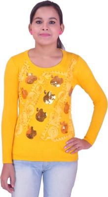 Krazzy Collection Festive Full Sleeve Self Design Women's Yellow Top