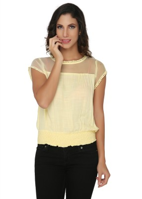 Philigree Casual Cape Sleeve Solid Women,s Yellow Top