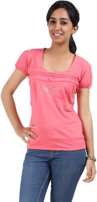 Maringo Classic Casual Short Sleeve Solid Women's Pink Top