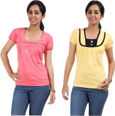 Maringo Classic Casual Short Sleeve Solid Women's Multicolor Top