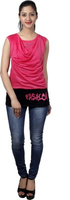 Western World Casual Sleeveless Self Design Women's Pink Top