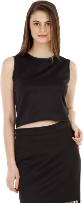 Fuziv Casual Sleeveless Solid Women's Black Top