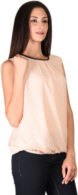 Curvy Q Casual Sleeveless Solid Women's Pink Top