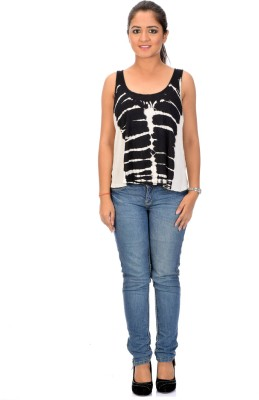 Instinct Casual, Festive Sleeveless Self Design Women,s Black, White Top