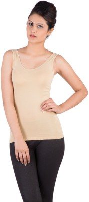 De Moza Casual Sleeveless Solid Women's Beige Top