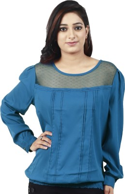 Maggie Casual, Party, Festive, Lounge Wear Full Sleeve Solid Women's Blue Top