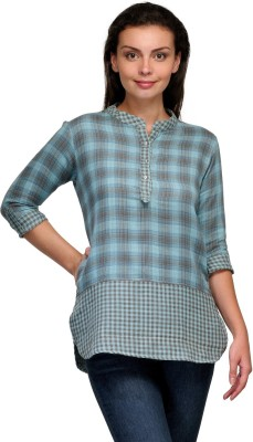 Onemm Casual 3/4 Sleeve Checkered Women's Blue Top