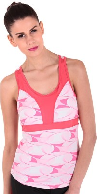 Sjoe Sports Sleeveless Printed Women's Pink, White Top