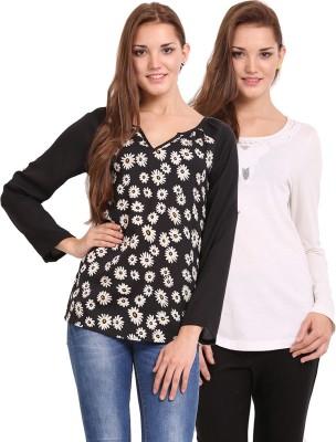 Femenino Casual Full Sleeve Solid Women's Beige, Black Top