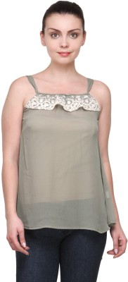 Kami Casual Sleeveless Solid Women's Green Top