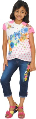 SD Party Cap sleeve Self Design Girl's Multicolor Top