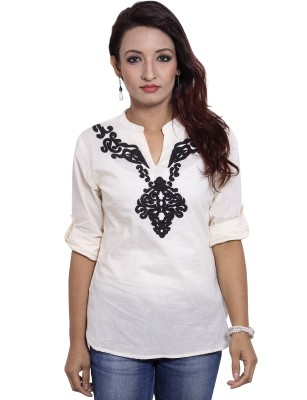 CURLLIE Casual 3/4 Sleeve Embroidered Women's White Top