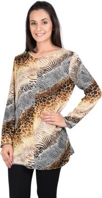 SHIBORI Casual Full Sleeve Animal Print Women's Beige Top
