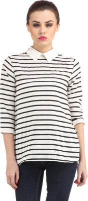 Cation Casual 3/4th Sleeve Striped Women's White, Black Top at flipkart