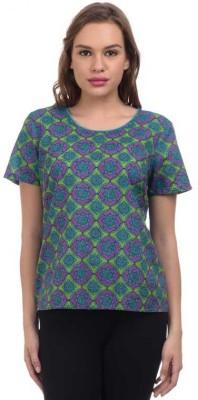 Orange Plum Casual Short Sleeve Printed Women's Blue Top