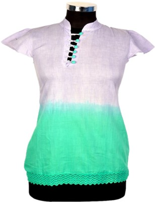 Jaipur Vogue Casual Short Sleeve Solid Women's Green, White Top