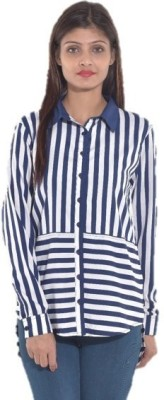 Entease Casual Full Sleeve Striped Women's Blue Top