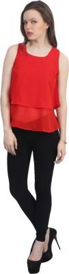 kellan Casual Sleeveless Solid Women's Red Top